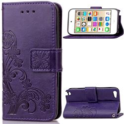 Embossing Imprint Four-Leaf Clover Leather Wallet Case for iPod touch iTouch 5 6 - Purple