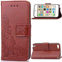 Embossing Imprint Four-Leaf Clover Leather Wallet Case for iPod touch iTouch 5 6 - Brown