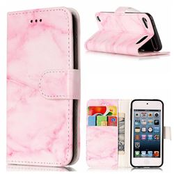 Pink Marble PU Leather Wallet Case for iPod Touch 5 6