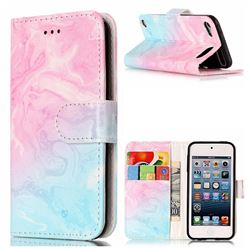 Pink Green Marble PU Leather Wallet Case for iPod Touch 5 6