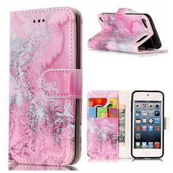 Pink Seawater PU Leather Wallet Case for iPod Touch 5 6