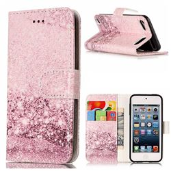 Glittering Rose Gold PU Leather Wallet Case for iPod Touch 5 6