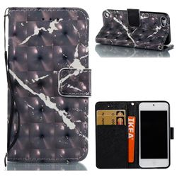Black Marble 3D Painted Leather Wallet Case for iPod Touch 5 6