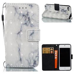 White Gray Marble 3D Painted Leather Wallet Case for iPod Touch 5 6