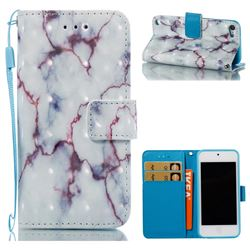 White Purple Marble 3D Painted Leather Wallet Case for iPod Touch 5 6
