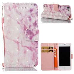 Pink Marble 3D Painted Leather Wallet Case for iPod Touch 5 6