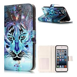 Ice Wolf 3D Relief Oil PU Leather Wallet Case for iPod Touch 5 6