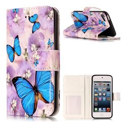 Purple Flowers Butterfly 3D Relief Oil PU Leather Wallet Case for iPod Touch 5 6
