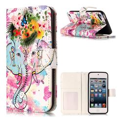 Flower Elephant 3D Relief Oil PU Leather Wallet Case for iPod Touch 5 6