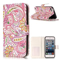 Pepper Flowers 3D Relief Oil PU Leather Wallet Case for iPod Touch 5 6