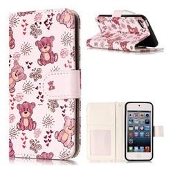 Cute Bear 3D Relief Oil PU Leather Wallet Case for iPod Touch 5 6