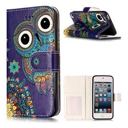 Folk Owl 3D Relief Oil PU Leather Wallet Case for iPod Touch 5 6