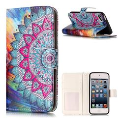 Mandala Flower 3D Relief Oil PU Leather Wallet Case for iPod Touch 5 6