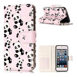 Cute Panda 3D Relief Oil PU Leather Wallet Case for iPod Touch 5 6