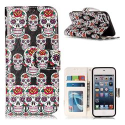 Flower Skull 3D Relief Oil PU Leather Wallet Case for iPod Touch 5 6