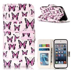 Butterflies Stickers 3D Relief Oil PU Leather Wallet Case for iPod Touch 5 6