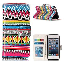 Tribal Pattern 3D Relief Oil PU Leather Wallet Case for iPod Touch 5 6