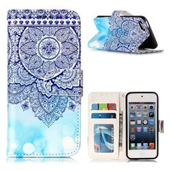 Totem Flower 3D Relief Oil PU Leather Wallet Case for iPod Touch 5 6