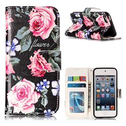 Peony 3D Relief Oil PU Leather Wallet Case for iPod Touch 5 6
