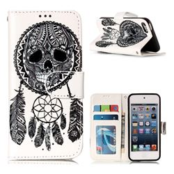 Wind Chimes Skull 3D Relief Oil PU Leather Wallet Case for iPod Touch 5 6