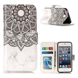 Marble Mandala 3D Relief Oil PU Leather Wallet Case for iPod Touch 5 6