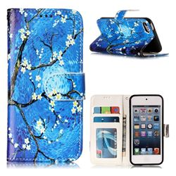 Plum Blossom 3D Relief Oil PU Leather Wallet Case for iPod Touch 5 6