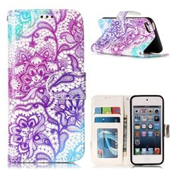 Purple Lotus 3D Relief Oil PU Leather Wallet Case for iPod Touch 5 6