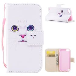 White Cat PU Leather Wallet Case for iPod Touch 5 6