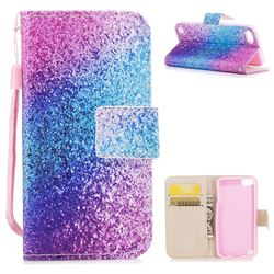 Rainbow Sand PU Leather Wallet Case for iPod Touch 5 6