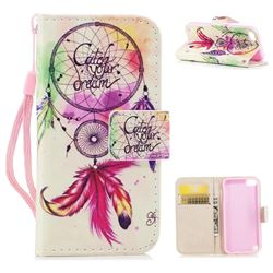 Feather Wind Chimes PU Leather Wallet Case for iPod Touch 5 6