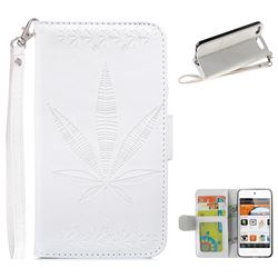 Intricate Embossing Maple Leather Wallet Case for iPod Touch 5 6 - White