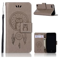 Intricate Embossing Owl Campanula Leather Wallet Case for iPod Touch 5 6 - Grey