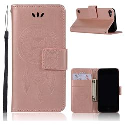Intricate Embossing Owl Campanula Leather Wallet Case for iPod Touch 5 6 - Rose Gold