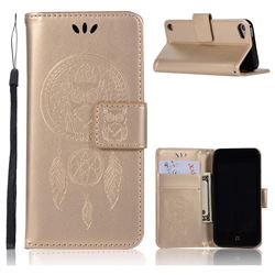 Intricate Embossing Owl Campanula Leather Wallet Case for iPod Touch 5 6 - Champagne
