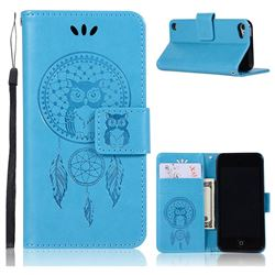 Intricate Embossing Owl Campanula Leather Wallet Case for iPod Touch 5 6 - Blue