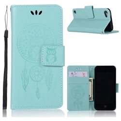 Intricate Embossing Owl Campanula Leather Wallet Case for iPod Touch 5 6 - Green