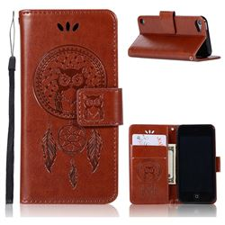 Intricate Embossing Owl Campanula Leather Wallet Case for iPod Touch 5 6 - Brown