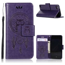 Intricate Embossing Owl Campanula Leather Wallet Case for iPod Touch 5 6 - Purple