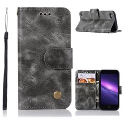 Luxury Retro Leather Wallet Case for iPod Touch 5 6 - Gray
