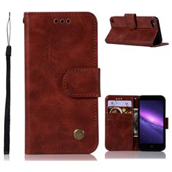 Luxury Retro Leather Wallet Case for iPod Touch 5 6 - Wine Red