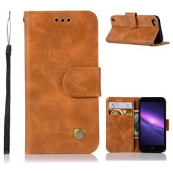 Luxury Retro Leather Wallet Case for iPod Touch 5 6 - Golden
