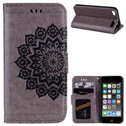 Datura Flowers Flash Powder Leather Wallet Holster Case for iPod Touch 5 6 - Gray