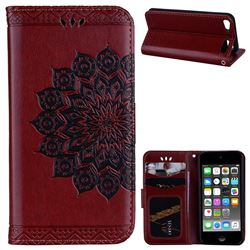 Datura Flowers Flash Powder Leather Wallet Holster Case for iPod Touch 5 6 - Brown