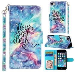 Blue Starry Sky 3D Leather Phone Holster Wallet Case for iPod Touch 5 6
