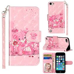Pink Bear 3D Leather Phone Holster Wallet Case for iPod Touch 5 6