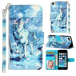 Snow Wolf 3D Leather Phone Holster Wallet Case for iPod Touch 5 6