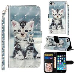 Kitten Cat 3D Leather Phone Holster Wallet Case for iPod Touch 5 6