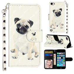 Pug Dog 3D Leather Phone Holster Wallet Case for iPod Touch 5 6