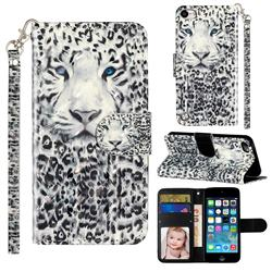 White Leopard 3D Leather Phone Holster Wallet Case for iPod Touch 5 6