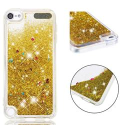 Dynamic Liquid Glitter Quicksand Sequins TPU Phone Case for iPod Touch 7 (7th Generation, 2019) - Golden